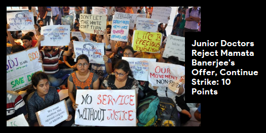 Lead story on http://ndtv.com: Junior doctors have rejected Mamata Banerjee's offer to hold talks and resolve the doctors' stir in Bengal, which has now spread across the countryhttps://www.ndtv.com/india-news/bengal-doctors-reject-mamata-banerjees-offer-for-talks-10-points-2053623…#NDTVLeadStory