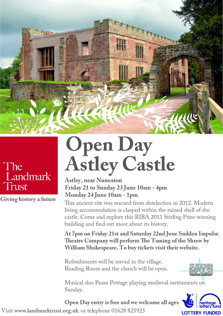 Visit the home of 3 Queens Of England inc' Lady Jane Grey Astley Castle #Nuneaton open 21st to 24th June. Church next door also open check out the wall paintings ! @LandmarkTrust @HistoricEngland @MidlandHistory @ClaireH_NN @OurWarwickshire @Jackalanch @VisitEngland @nwtourism<br>http://pic.twitter.com/umzfCJptzE
