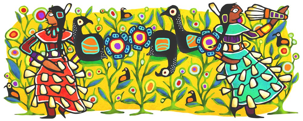 Today's #GoogleDoodle celebrates the Jingle Dress Dance, which originated during the 1920s amongst the Native American Ojibwe people.   Learn more →  http:// goo.gle/2wxJuOz     <br>http://pic.twitter.com/JmNyxRErgM