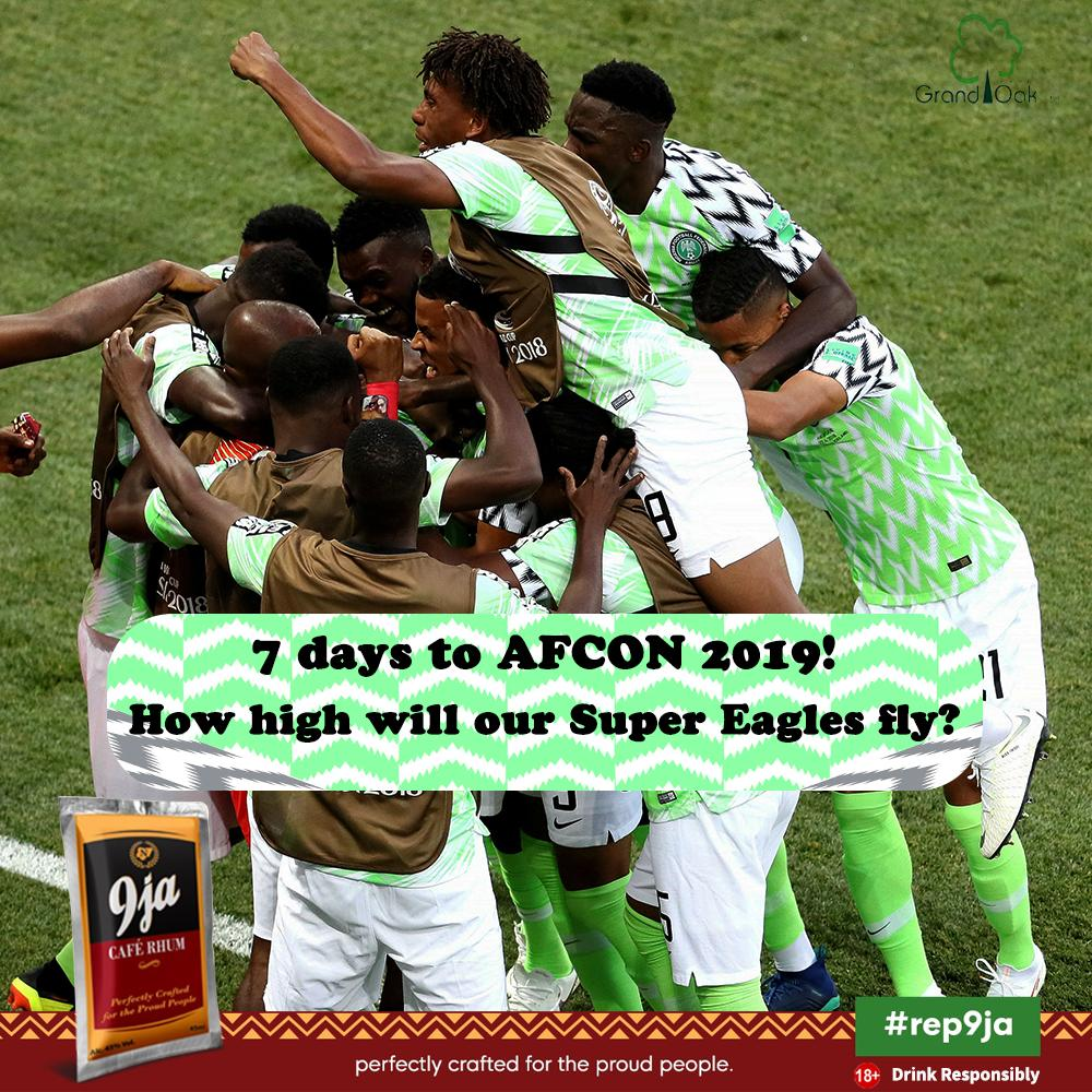 Our 9ja people, AFCON 2019 is just 7 days away! We are super charged to #rep9ja at this tournament. How far do you think our Super Eagles will go? #9jaFootball #Rep9ja #9jaCafeRhum #AFCON2019 #SuperEaglespic.twitter.com/7VTMrq9NRu