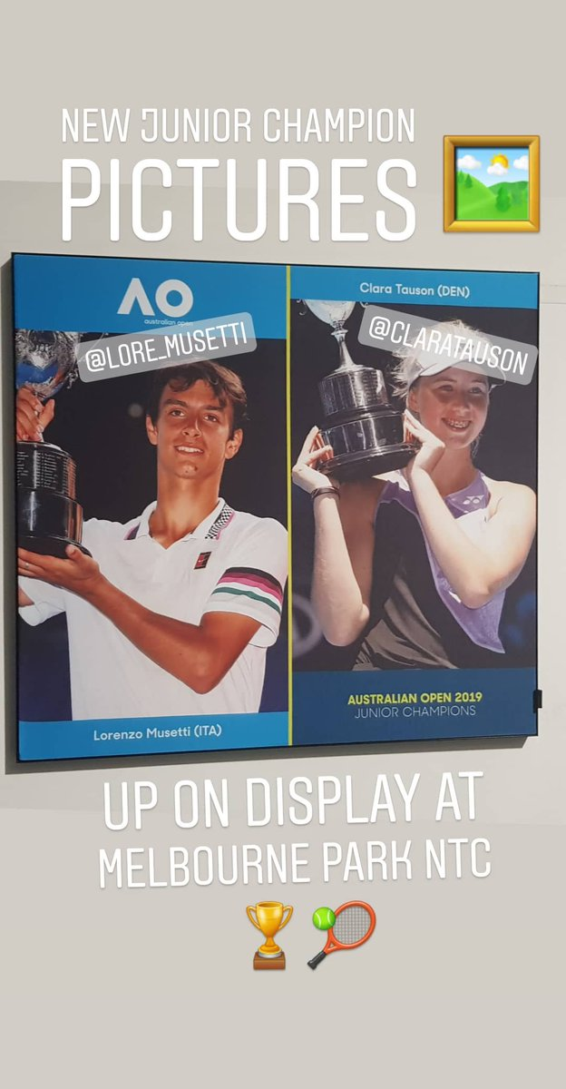 Check out these new 🖼's at NTC Melbourne Park. It's our 2019 junior AO champions - Lorenzo Musetti and Clara Touson ( @CTousontennis)  #AusOpen #Musetti #Touson #LorenzoMusetti #ClaraTouson #Tennis