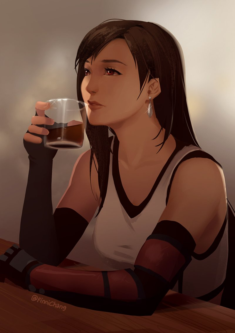 A quick study of Tifa contemplating at the bar. I love Tifa for her punchiness but also that shes such an emotionally soft and empathetic character. 💛