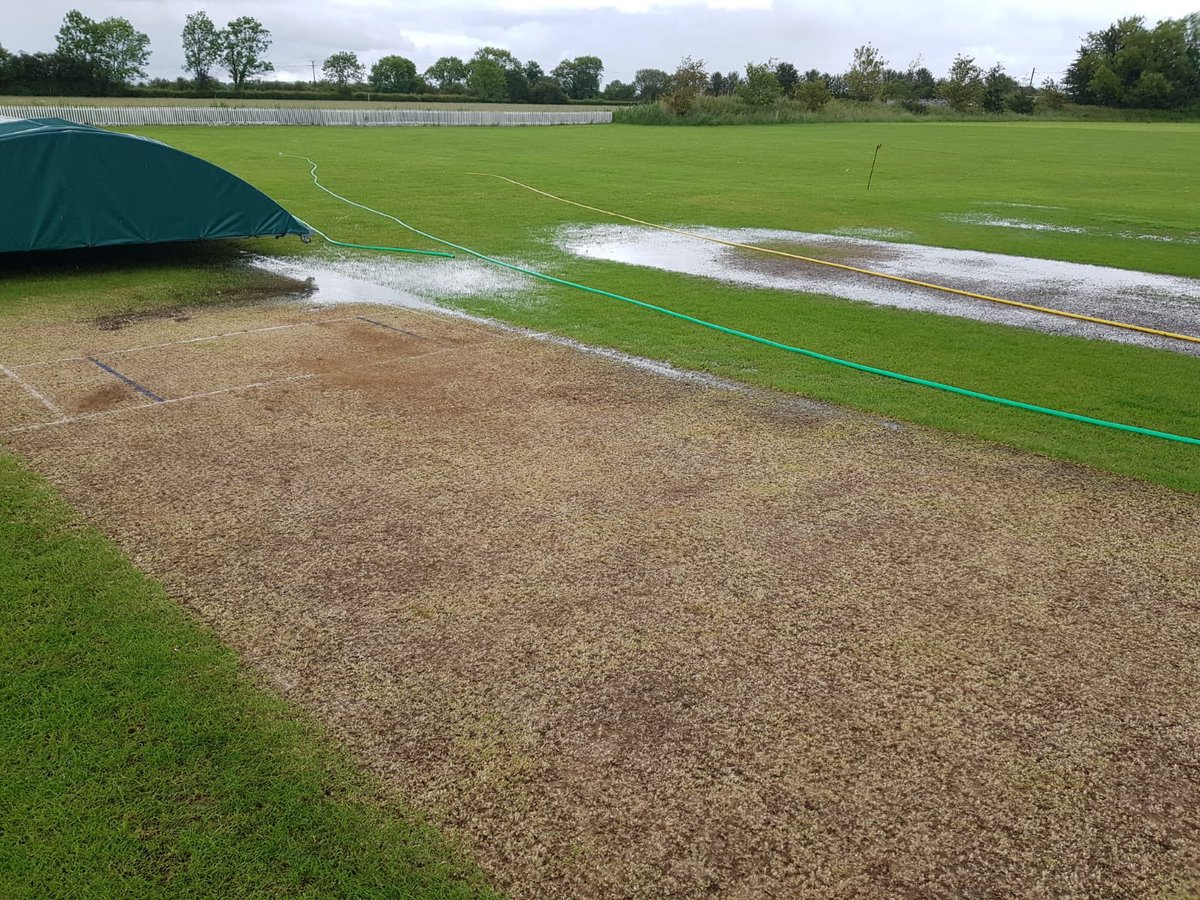 Both Games off today due to rain vs @TSA_CC 3rds & @LympBelvCC 2nds in the @MSLSomerset!  This was the state of our ground last evening after the heavy rain yesterday!  <br>http://pic.twitter.com/yhlAKaH7IC
