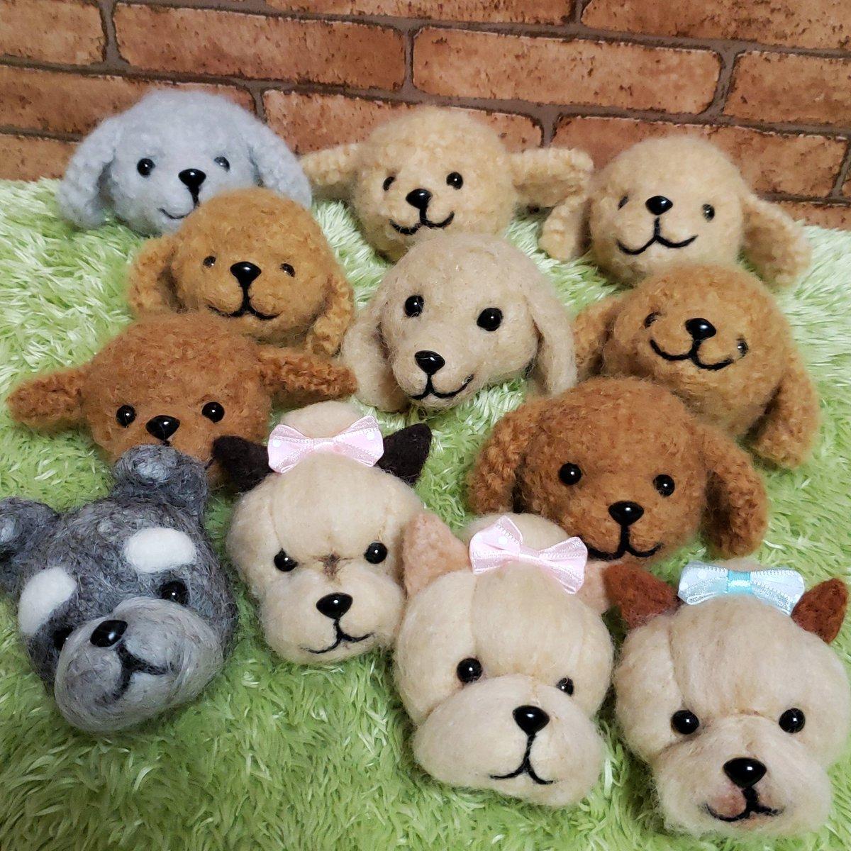 6/23 #artevarie に向けて製作頑張っています。 まだまだだと思っていたのに来週  気合いいれて #ワンコ の補充です。 まだまだ追い付けませんー がんばります #トイプードル #ミニチュアしシュナウザー #ゴールデンレトリバー #ヨークシャーテリア  #柴犬 #ミニチュアダックスフント も作らなければ