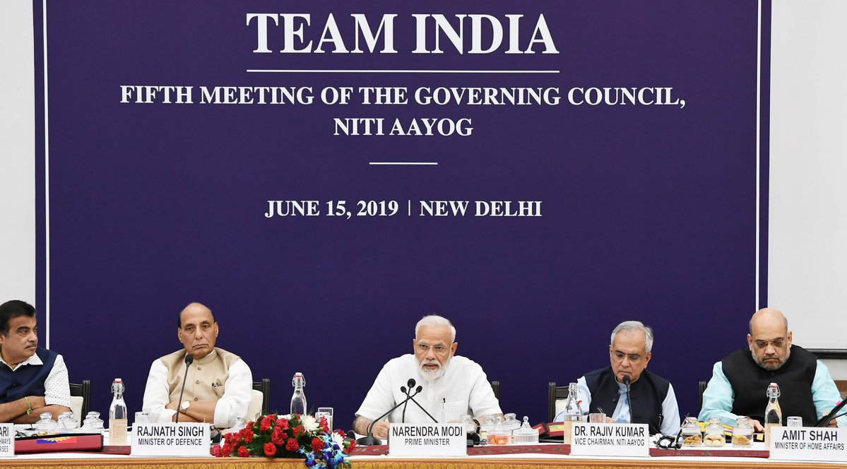 NITI Aayog has key role to play in fulfilling the mantra of Sabka Saath, Sabka Vikas, Sabka Vishwas. Everyone at this platform has a common goal of achieving a #NewIndia by 2022.Read PM's remarks at the meeting of the Governing Council of @NITIAayog at http://bit.ly/2Zl4MLE