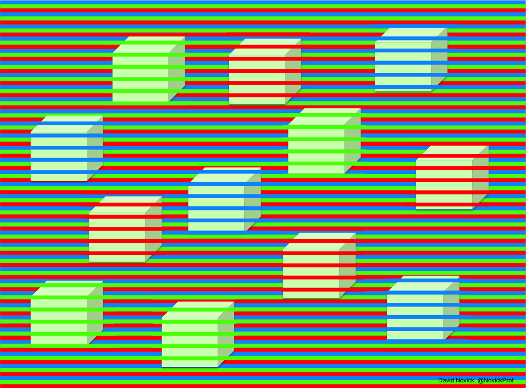 A three-color confetti illusion with cubes, which appear to be blue, green, and yellow but in fact are all exactly the same light-green color (RGB 198,255,189). Shrinking the image increases the effect. Original png file is at http://bit.ly/2O74l2I.