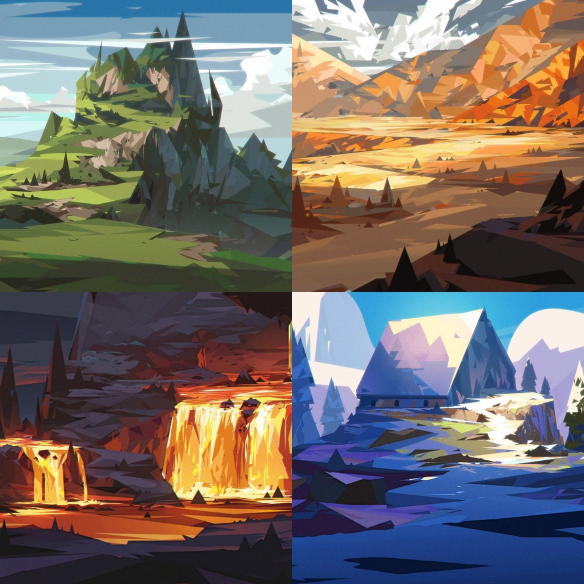 4 old geometric scapes.