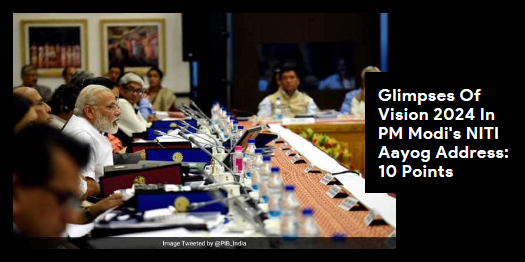 Lead story now on http://ndtv.com: PM Modi today spelt out his government's vision 2024 at the NITI Aayog's fifth governing council meeting https://www.ndtv.com/india-news/special-status-demands-likely-in-pms-niti-aayog-meet-today-10-points-2053572…#NDTVLeadStory