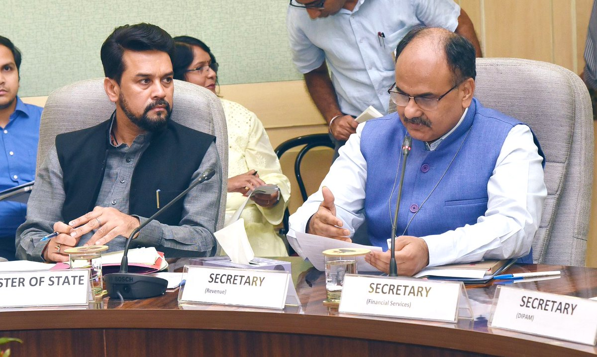 MoS (Finance & Corporate Affairs) Sh. @ianuragthakur is chairing the Pre- Budget Consultation Meeting with representatives of Trade Unions & Labour Organizations today for the forthcoming General Budget 2019-20.