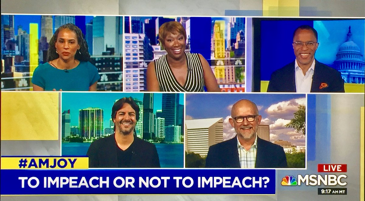 Why is Speaker Pelosi refusing to allow impeachment to check a criminal President who has engaged in obstruction of justice?   I'll be joining @JoyAnnReid on @amjoyshow TODAY #SaturdayMorning at 10amET @MSNBC w/@anitakumar01 & @DeanObeidallah to discuss.  Catch us soon on #AMJoy! <br>http://pic.twitter.com/h9WcOZyktH
