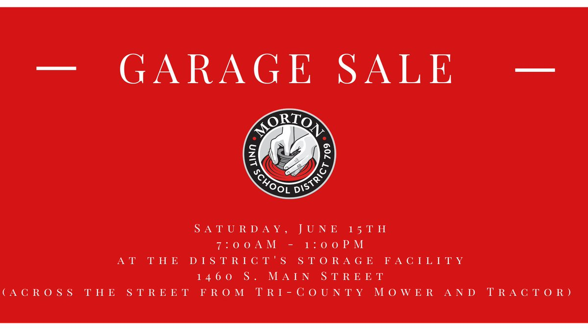 The MCUSD 709 Garage Sale has begun and will run until 1 pm today! We hope to see you soon‼️ #OneMorton