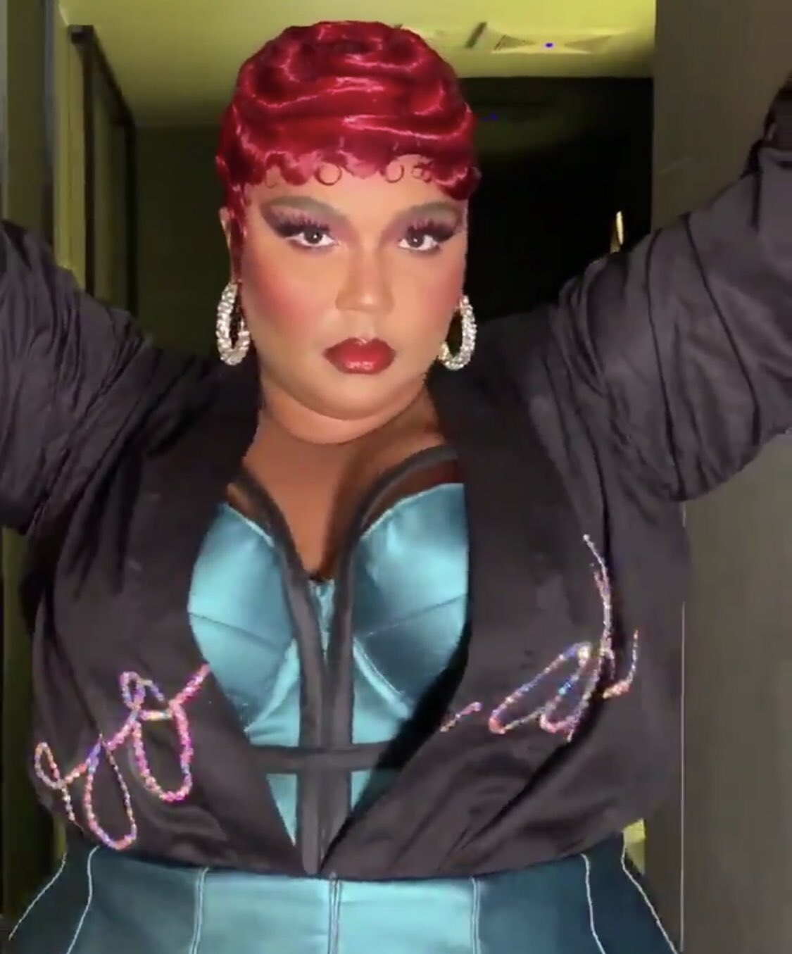Lizzo Rocking Cherry Red Finger Waves 6/14/2019 | Lipstick Alley