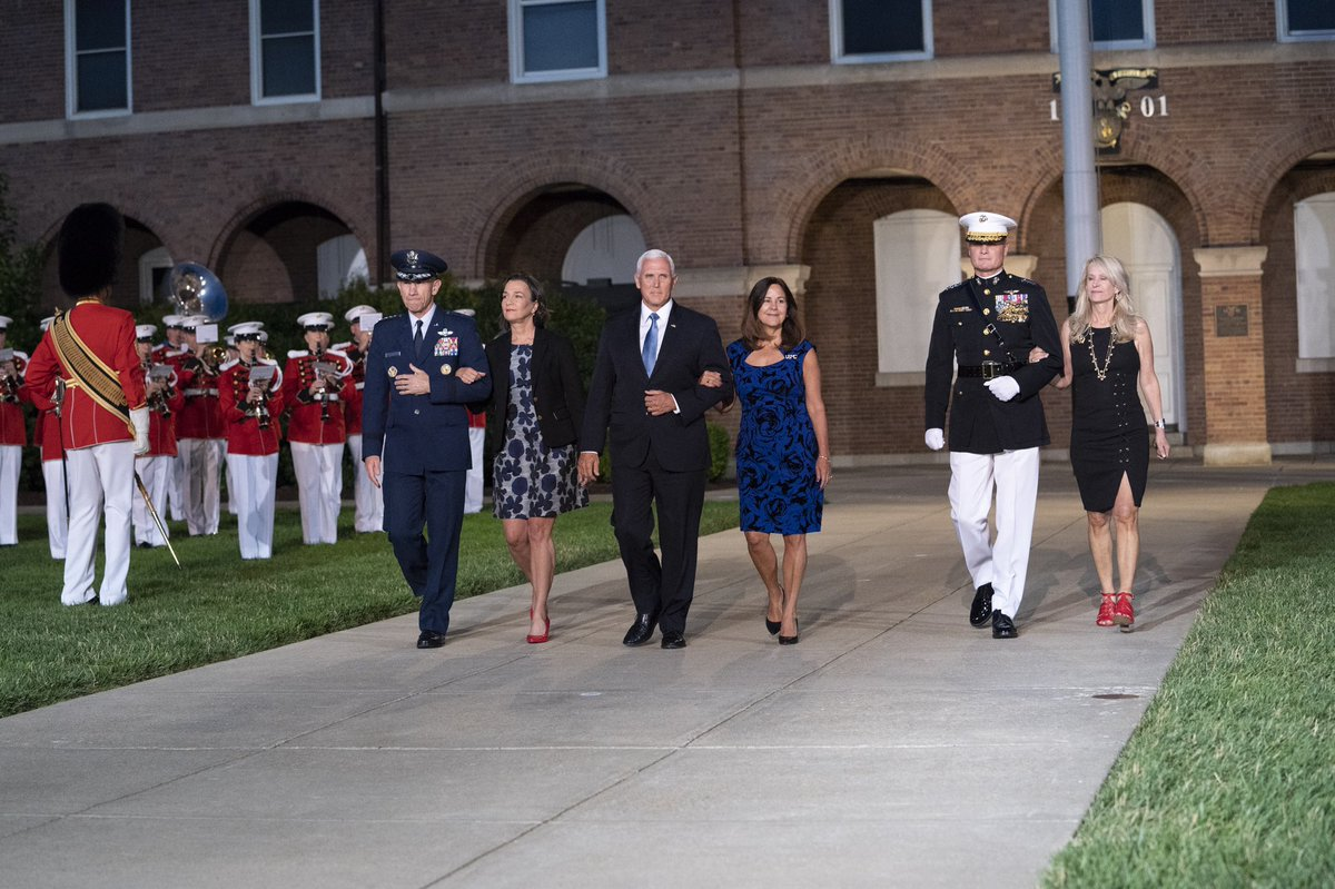 Last night's Evening Parade at Marine Barracks Washington D.C. was incredible! @SecondLady and I are always inspired to be with the men and women of our Armed Forces, and it was great to be with our Marines @MBWDC! Semper Fi! http://www.barracks.marines.mil