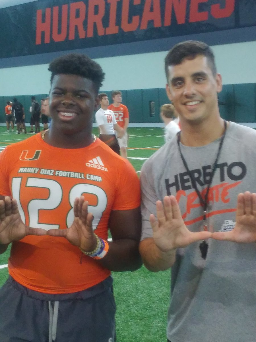 Had an awesome time at Manny Diaz camp this Friday at the U. Learned a lot and was very impressed with the coaching staff!   @Coach_MannyDiaz