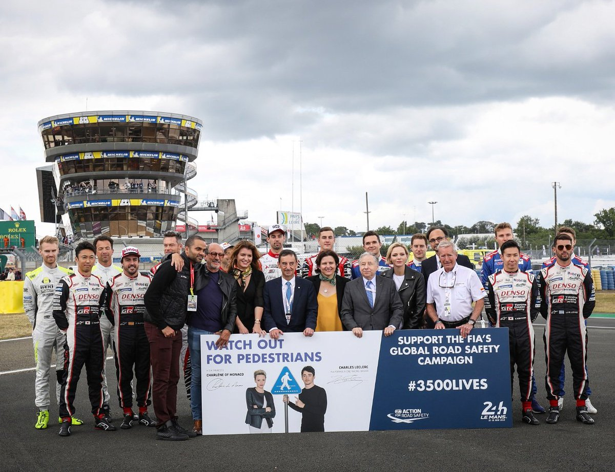 #3500LIVES Ambassadors H.S.H. Princess Charlène of Monaco and @alo_oficial were joined by @JeanTodt @fillon_pierre @MarleneSchiappa @RoxaMaracineanu, Richard Mille, @tonyparker, Hurley Haywood, Nicolas Deschaux & LMP1 drivers to support the #roadsafety campaign #LEMANS24 @FIAWEC