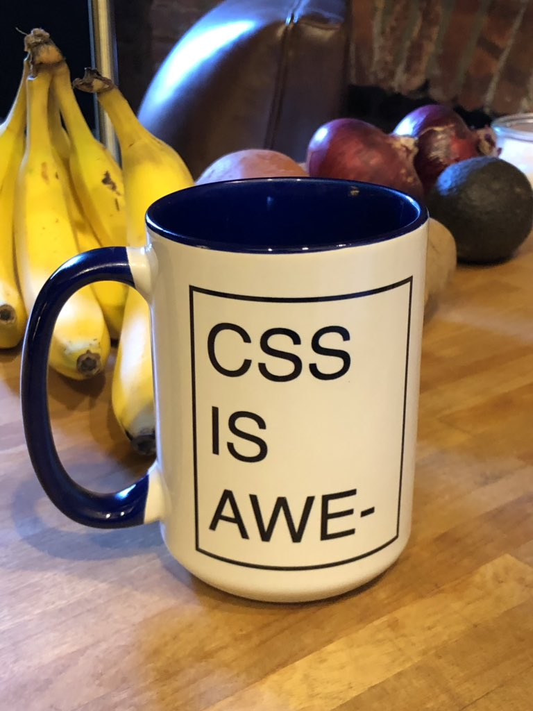 Look at what just arrived. You can get your own at zazzle.com/css_paged_over… Made by @dauwhe a CSSWG member, who made this mug graphic with CSS, and who's working on making it possible to write this in code for real, maybe it'll be `overflow: fragment;`