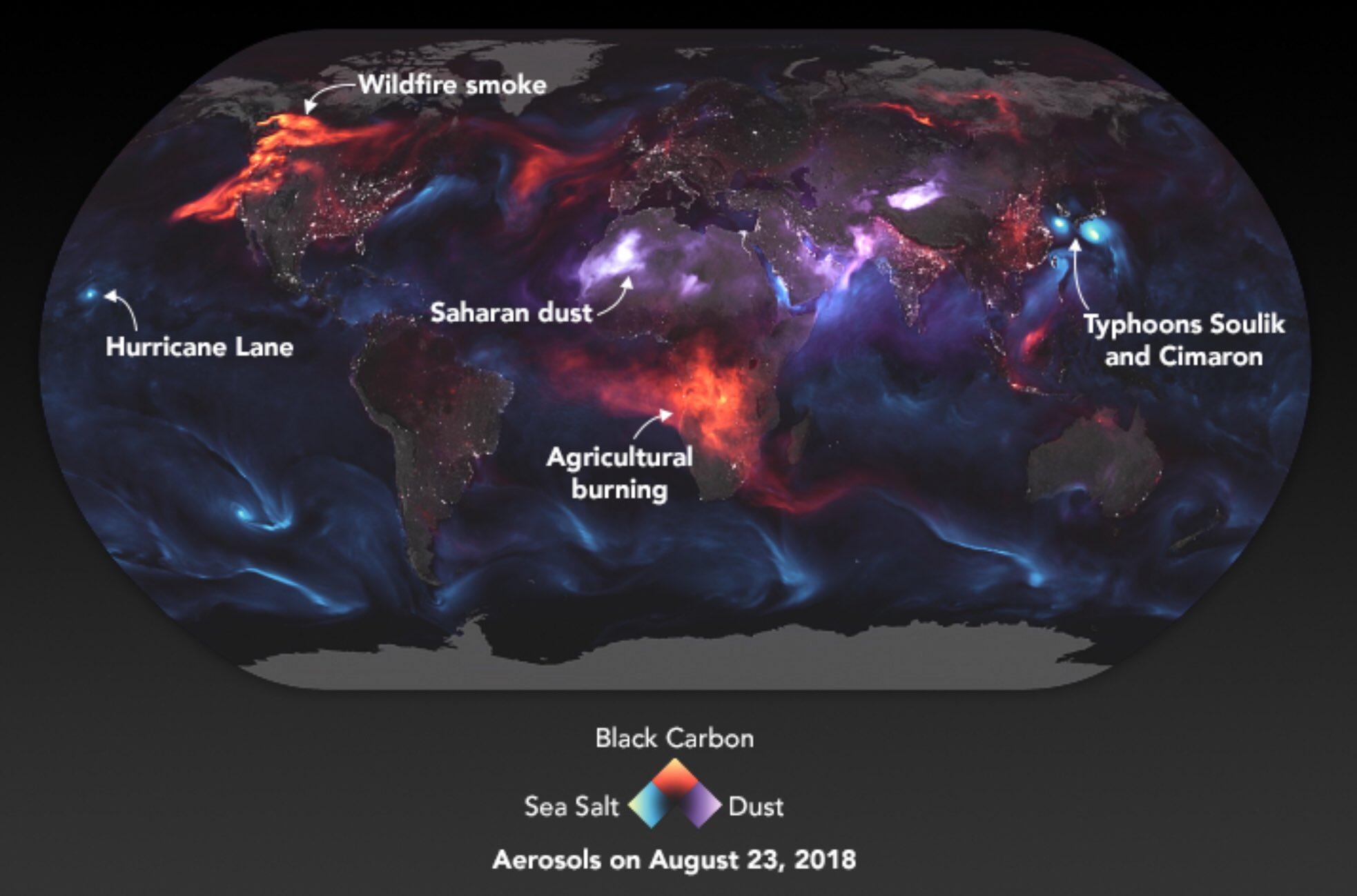 Visualisation satellite de différents types d'aérosols Crédit NASA