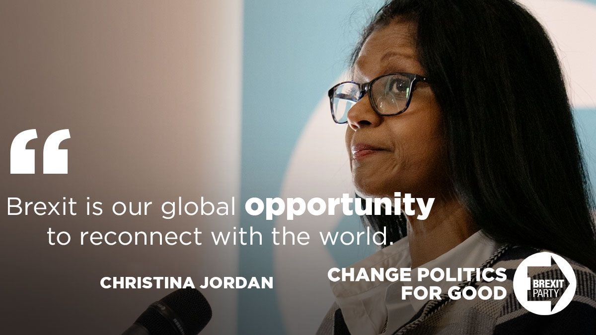 """""""Brexit is a global opportunity to reconnect with the world!"""" - Brexit Party MEP Christina Jordan."""
