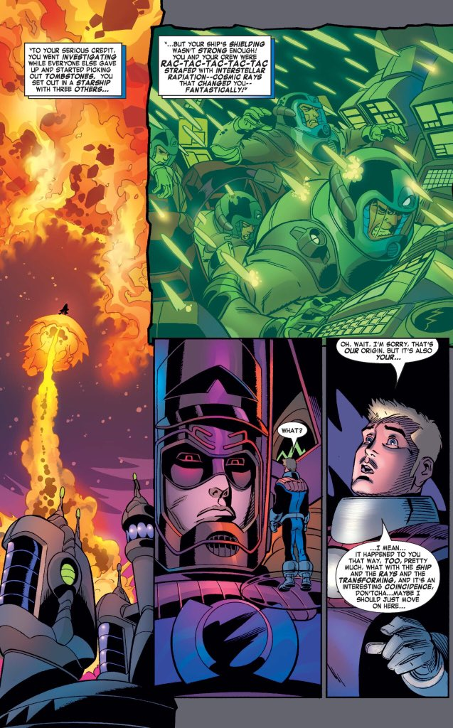 It's so fascinating that Galactus's origin story parallels the FF's so closely — the disastrous rocket flight, the exposure to cosmic rays...it'd be interesting to see someone do something with this. What's the significance of this parallel?