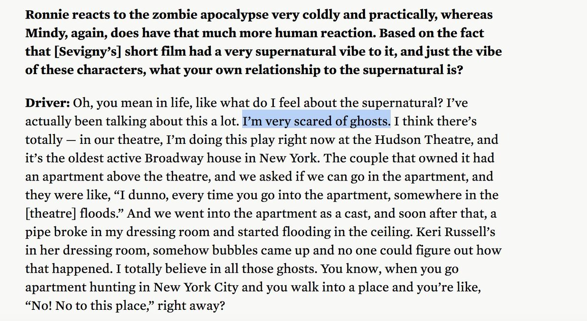 Adam Driver talks about ghosts & the spooky encounter at the Hudson 👻