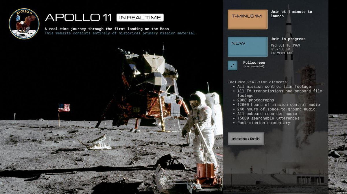 Apollo 11 in Real Time is live! Relive the first landing on the Moon for #Apollo50th Includes all film footage, TV broadcasts, photographs, every word spoken, and more, including 11,000 hours of Mission Control audio never before made publicly available apolloinrealtime.org/11