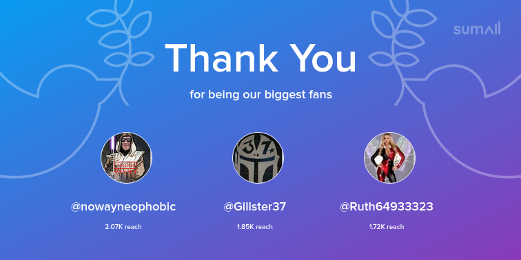 Our biggest fans this week: nowayneophobic, Gillster37, Ruth64933323. Thank you! via sumall.com/thankyou?utm_s…