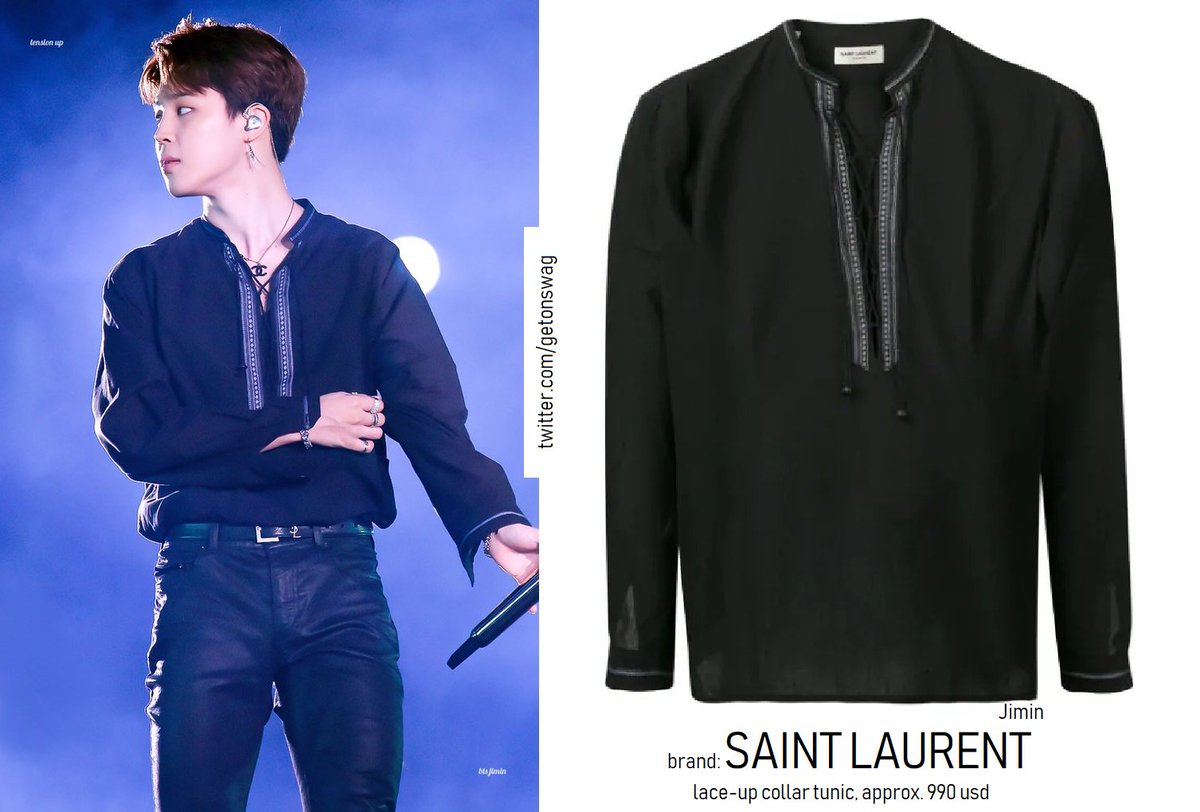 45de7b268 #Jimin 190615 #BTS 5th Muster in Busan #방탄소년단 SAINT LAURENT lace-up collar  tunicpic.twitter.com/mAo05q2Tqh