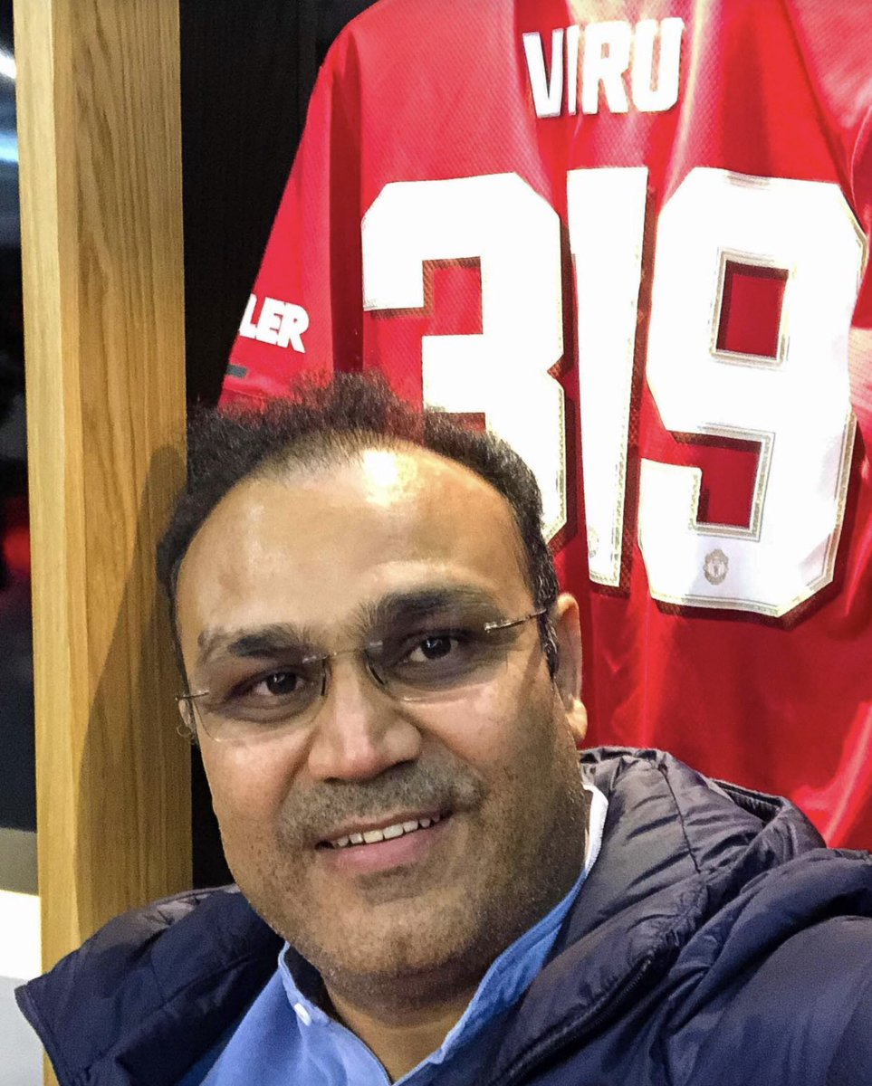 Great to have @VirenderSehwag visit OT today! #MUFC