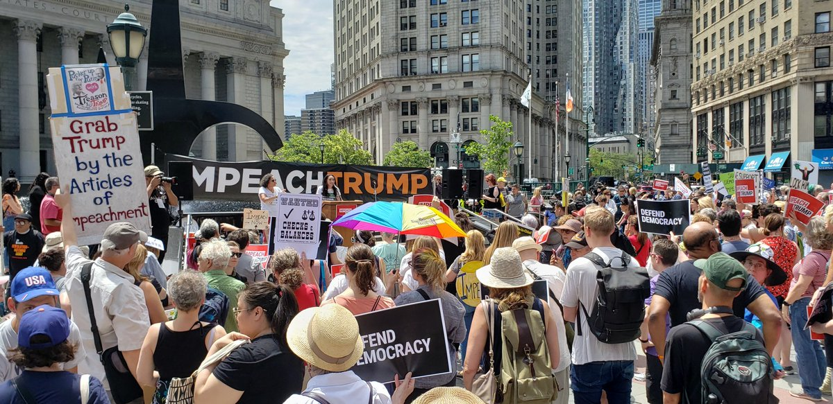 New Yorkers are gathered to demand an #ImpeachmentInquiryNow in Foley Square!