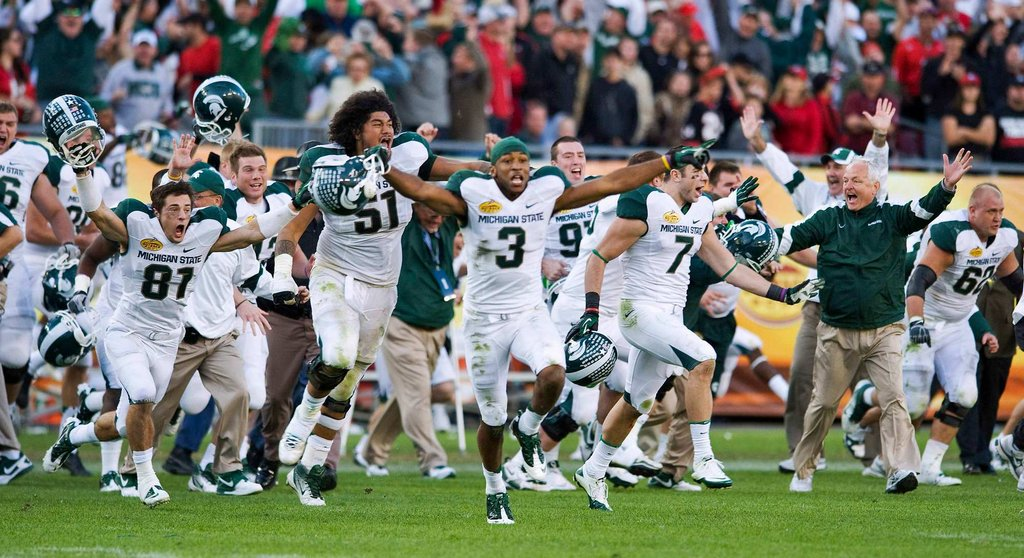 Dan Conroy kicked a 28-yard FG in the third OT to give @MSU_Football a victory in the 2012 @outbackbowl. Watch a replay of this thrilling matchup today at 4PM ET on @BigTenNetwork. #B1GFootball