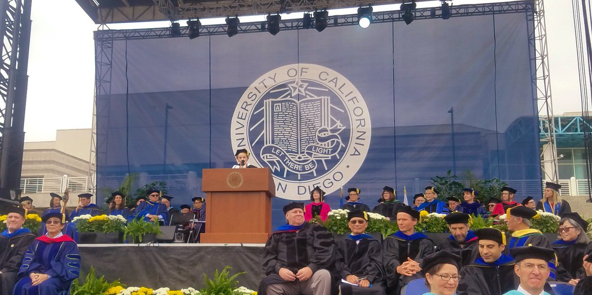 """""""I hope that each of you will use the knowledge gained here at this university to be more than a consumer of liberty, but a defender and an enricher of it, employing your talents to heal, help and teach."""" - Madeleine Albright to UC San Diego graduates #TritonGrad #ucsd2019"""