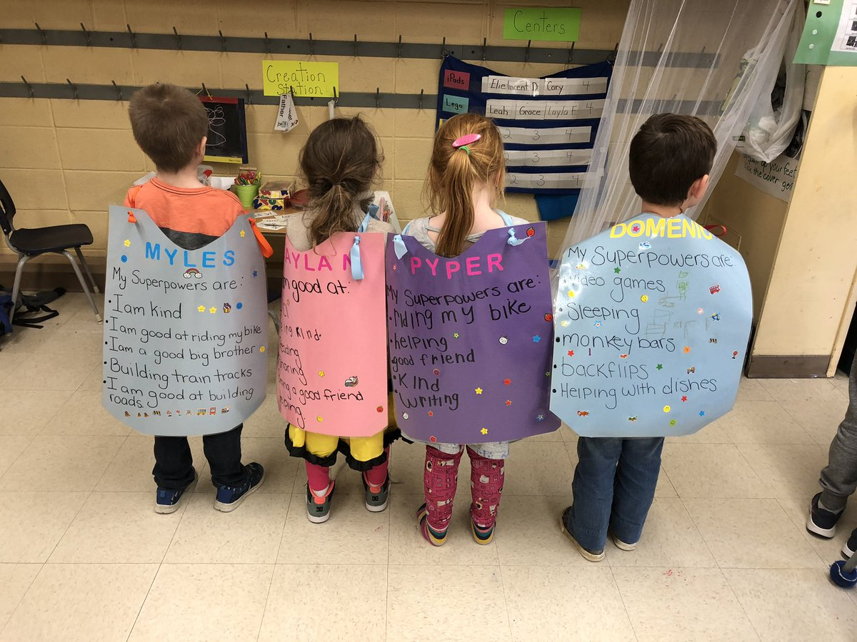 "We made superhero capes showing our ""superpowers"" 🦸‍♀️🦸‍♂️💪 It was such a great activity to reflect on our strengths and what makes us special ❤️ Thanks @LynnDenault for the wonderful idea! @hn_school #confidence #weareallunique #whatmakesyouspecial"