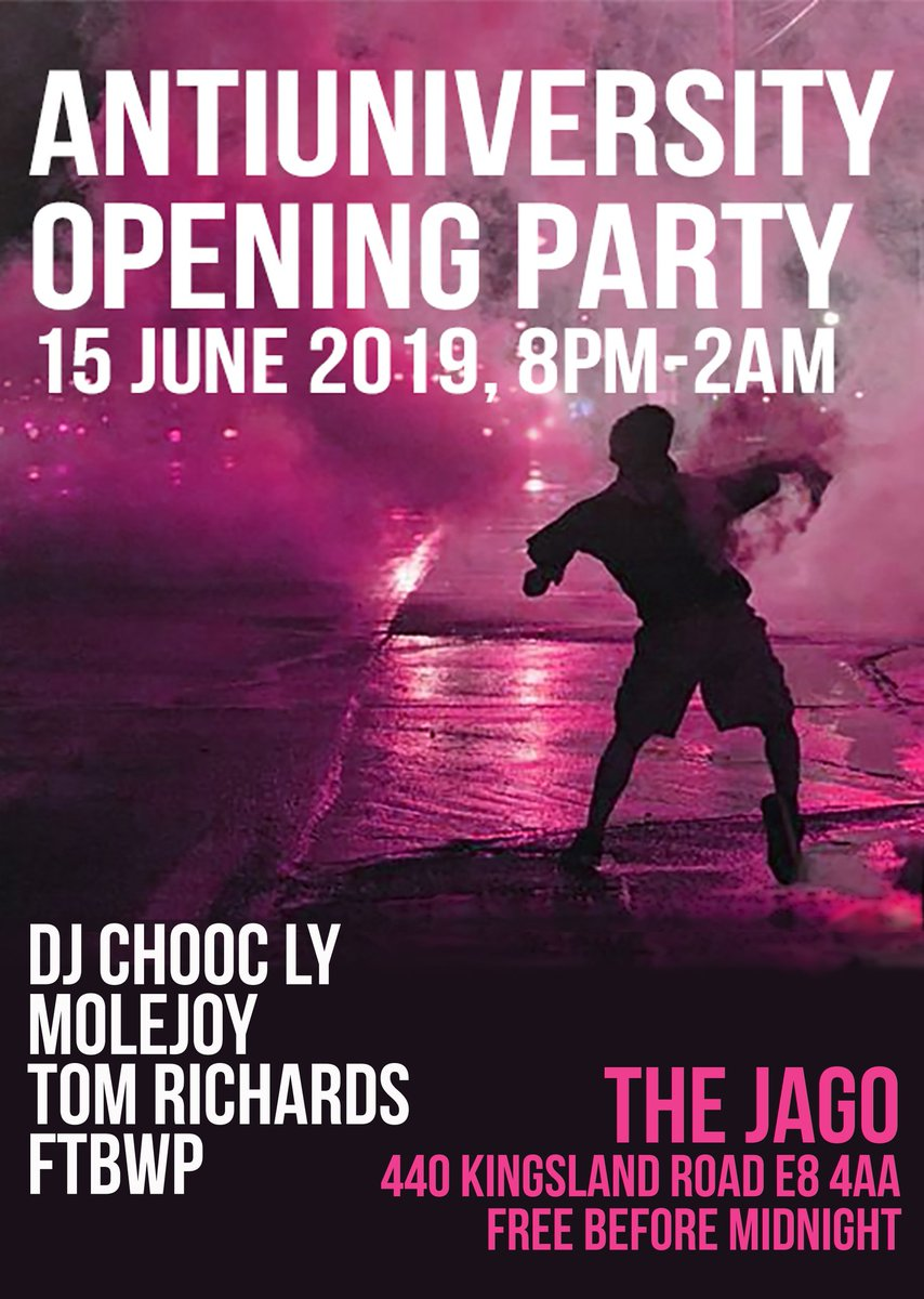 Thanks to all organisers for such an amazing day so far! See you soon at @thejagodalston for our opening 🎉PARTY🎉 with music from @ChoocLy @MoleJoy @TOMTRSOUND & FTBWP