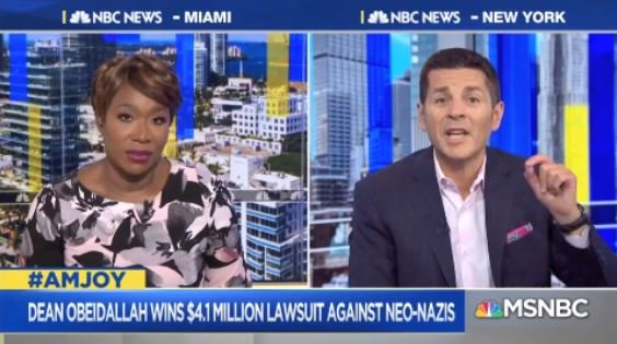 .@DeanObeidallah: We have a judgement for $4.1 million. The goal is to say you're not going to make us cower in fear... We're going to go to court... We're going to take every dollar you have. Every dollar of Nazi money I get I'm giving to orgs run by people they hate. #AMJoy <br>http://pic.twitter.com/oq15UZRoaO