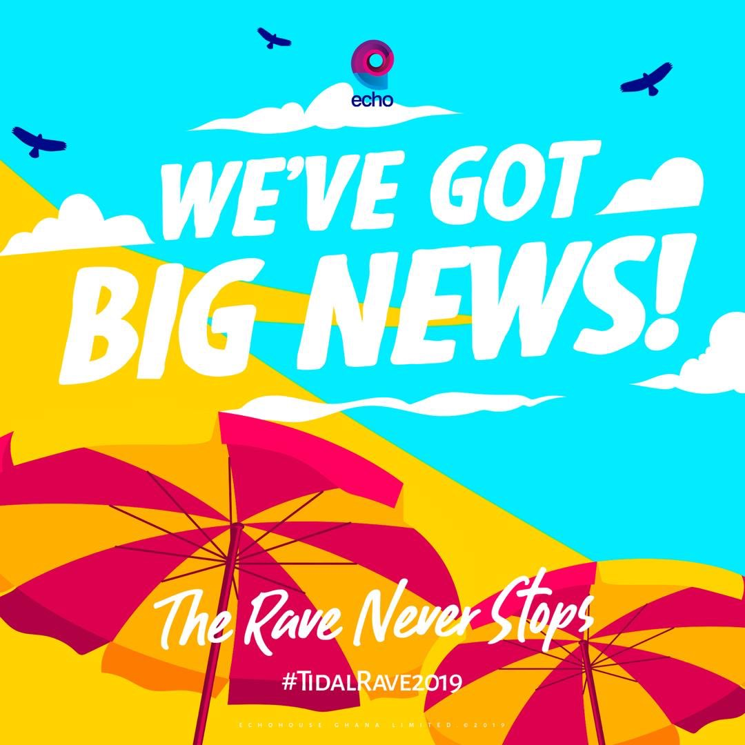 Ah wada? In some few minutes we'll be sharing some amazing news with y'all! Can you guess what it is? #TidalRave2019 #ThisJuly ♾