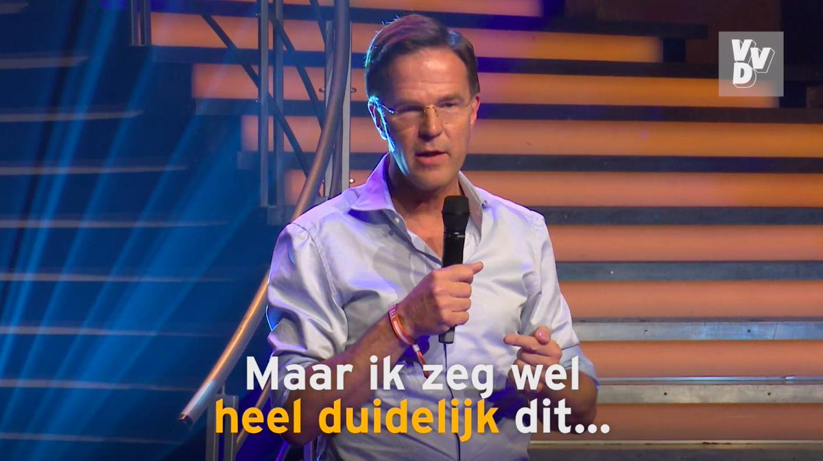 Image for the Tweet beginning: Mark Rutte op het #VVDfestival: