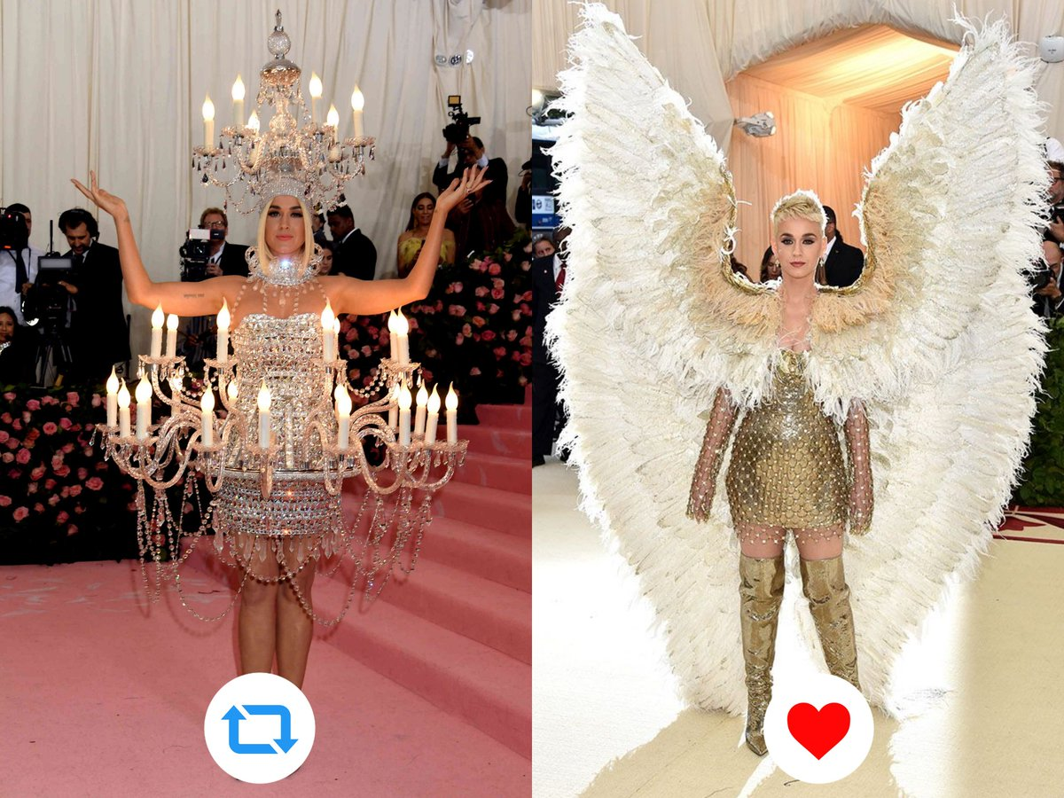 Best Met Gala look?  RT for 2019 Like for 2018  #MiVoto40KatyPerry<br>http://pic.twitter.com/RBdNIknffs
