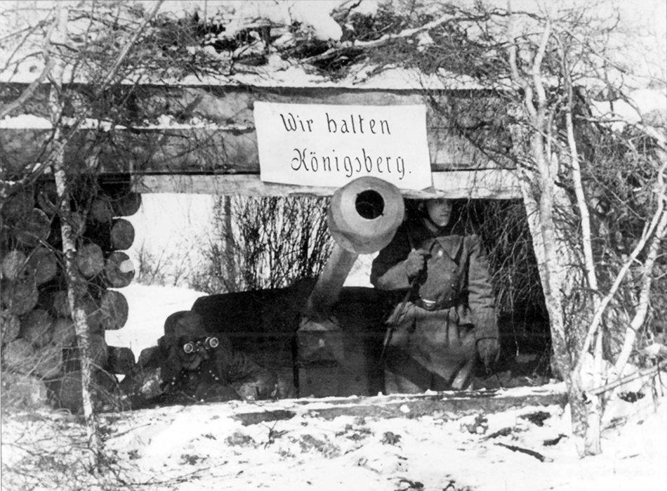"German 7.5 cm Pak 40 anti-tank gun on a defensive position outside Königsberg, 1945. The inscription in German reads: ""We hold Königsberg"". #WW2pic.twitter.com/F4KZaDWpsG"