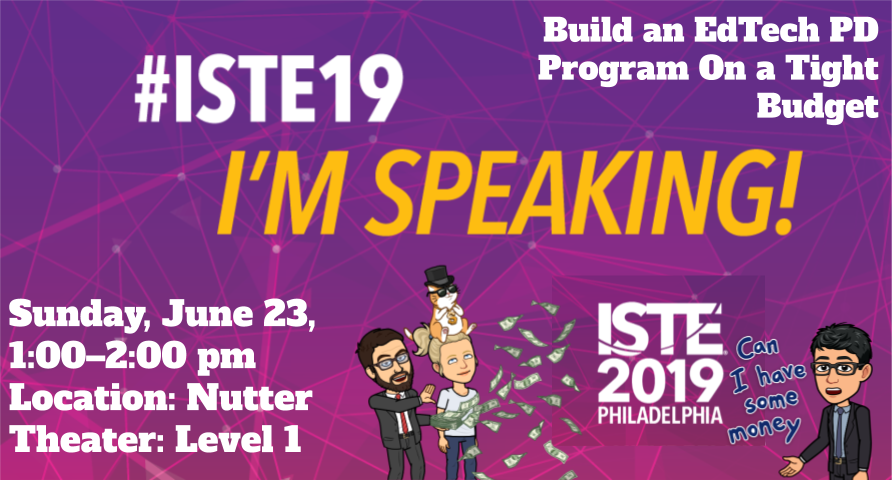 """CANNOT WAIT to be at #ISTE19 w/ my #edtech sister, @kmartintahoe, with support from @NewImpulse. We'll be sharing #Leadership tips & how we've been """"Building EdTech PD Programs on a Tight Budget.""""  JOIN US, 6/23, 1-2 pm; Nutter Theater - Level 1. #CAEdChat #edtechchat #ISTE2019"""
