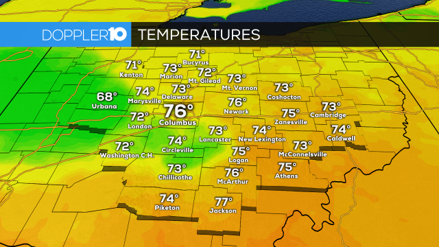 2PM TEMPERATURE CHECK---   Here's a look at temperatures around Central Ohio this afternoon.   #10TV | RADAR: http://10TV.com/interactive