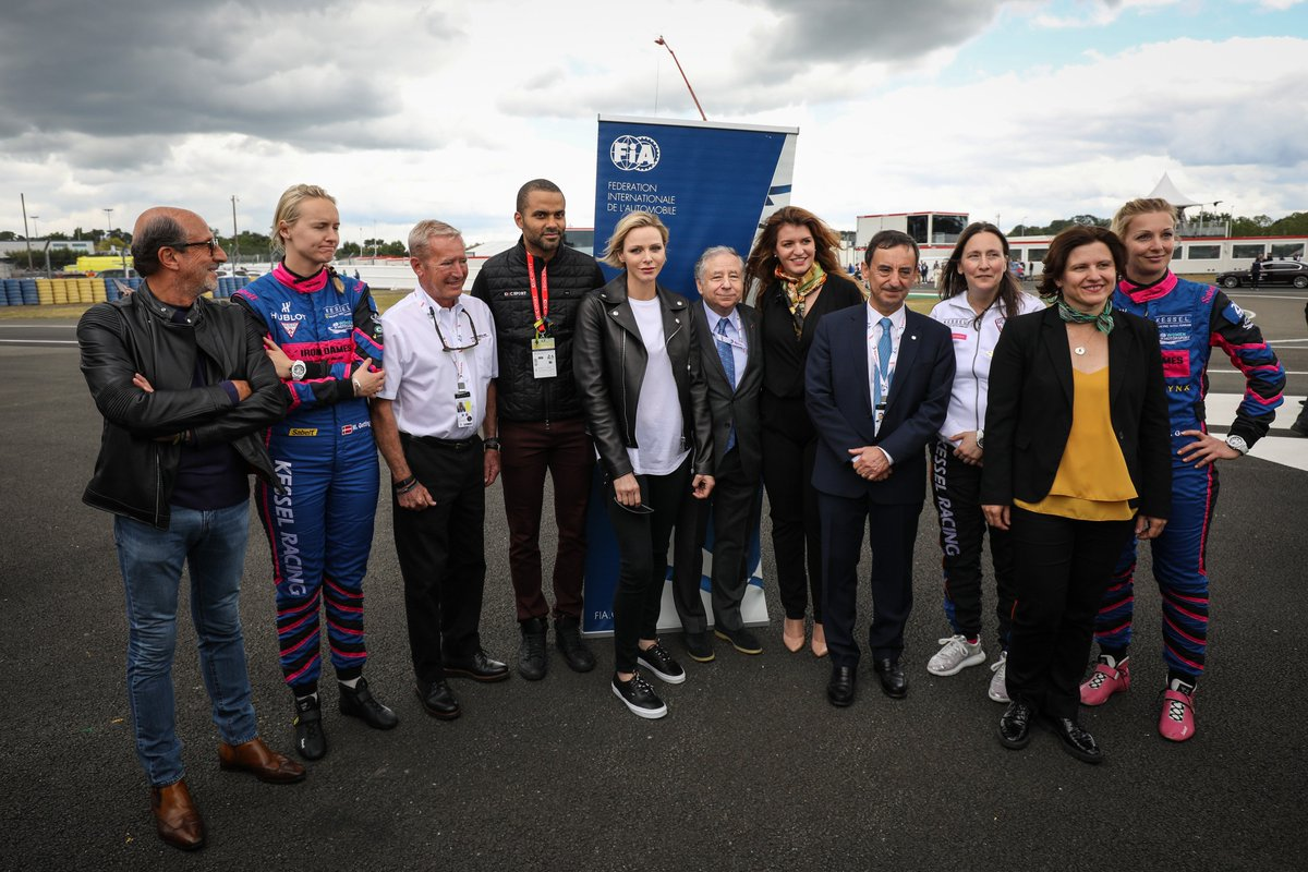 #WIM - Just hours before the start of the famous @24heuresdumans, the all-female Kessel Racing crew, which is supported by the @fiawim Commission, had the honour of being presented to Her Serene Highness, Princess Charlene of Monaco 🇫🇷⬇ https://www.fia.com/news/wim-four-females-start-legendary-le-mans…