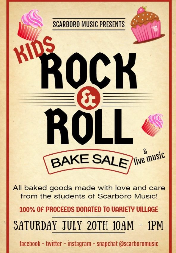 We are just over a month away from our #KIDS #ROCKANDROLLBAKE SALE! Saturday July 20th - 10:00am to 1:00pm - Outside the store. 100% of proceeds going to our friends at #VarietyVillage! #LiveMusic - #BakedGoods from our #students - #singing #dancing & more! #wearemusic #rocknroll<br>http://pic.twitter.com/IiV36WVyP0