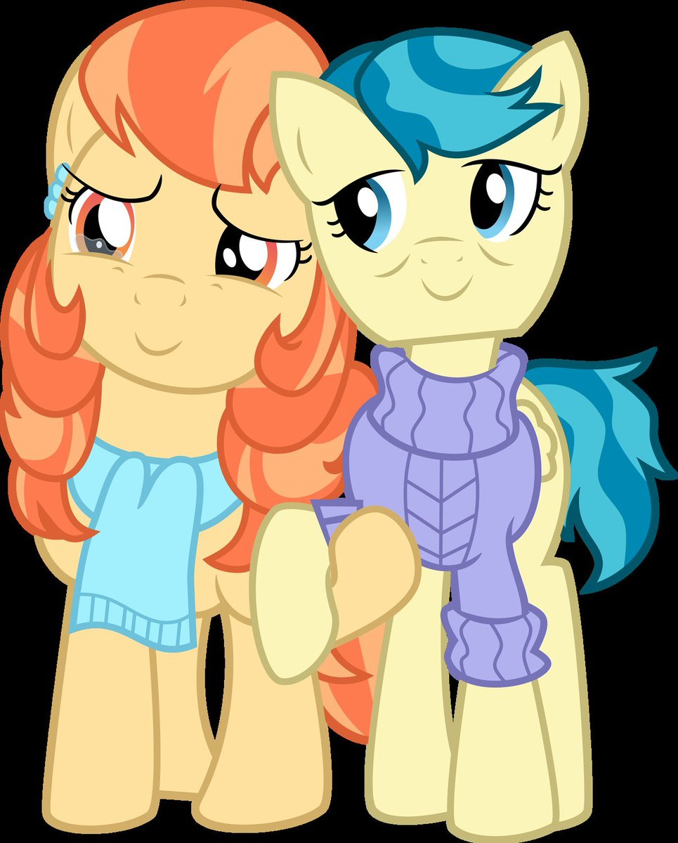 Introducing Aunt Holiday (ginger hair, voiced by me!) & Aunt Lofty, the lesbian pony couple debuting today on on 'The Last Crusade' episode of My Little Pony Season 9! #mylittlepony #proud<br>http://pic.twitter.com/UnUK0BSkhc