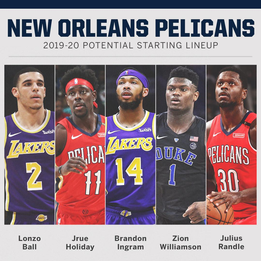 The Pelicans will now have the No. 1 and No. 4 picks in this year's draft.  Here's a look at their potential starting 5 next season ⤵️