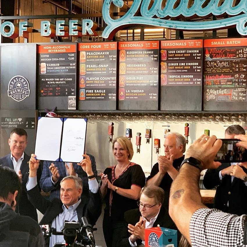 Its officially official. @GovAbbott signed #BeerToGo. See yall September 1!