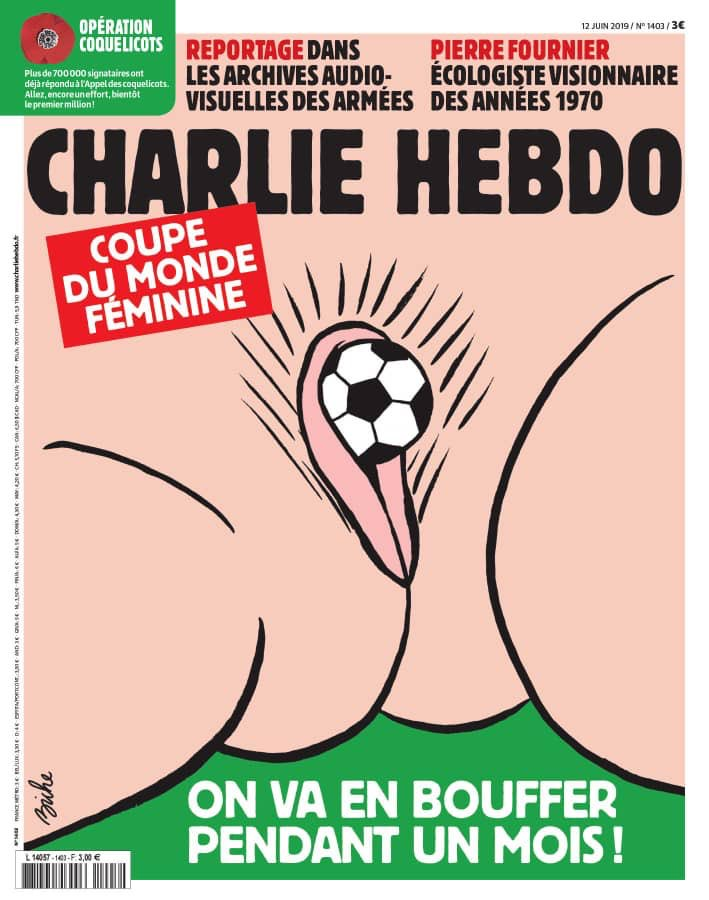 I am all for satire. But why the hell did #CharlieHebdo do this? Can this be seen as anything less than a sexist and gratuitous insult to women's football? And sport? The athletes at the #FIFAWWC2019 don't deserve to be disrespected like this. This is shameful and I condemn it.<br>http://pic.twitter.com/UGW0pCKVo4