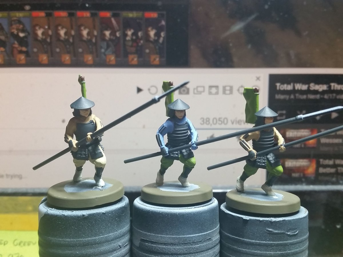 I made a start on 3 more Yari Ashigaru today. These are from the Test of Honour plastic starter set originally produced by Warlord Games. #MiniaturePainting #WIP #Samurai #Ashigaru #FuedalJapan #SengokuJidai #TestofHonour #WarlordGames