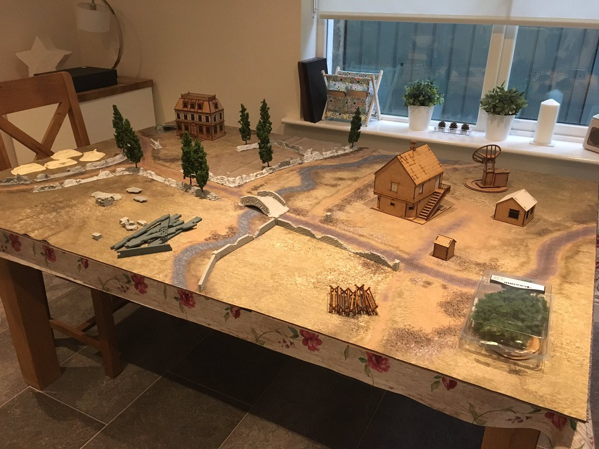 Messing around. It's like Tetris, but WAY more fun. Scoping out what's in the terrain box and more importantly what's not (yet!). Awaiting a few more pieces. Then to start painting! #Warmongers #warmonger #warlordgames #BoltAction #historicalwargaming