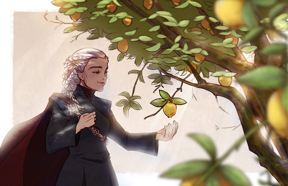 """And there outside the window, a lemon tree! The sight of it made her heart ache with longing."" #DaenerysTargaryen #GameOfThrones #GoT #Daenerys<br>http://pic.twitter.com/pfrCb0PRdL"