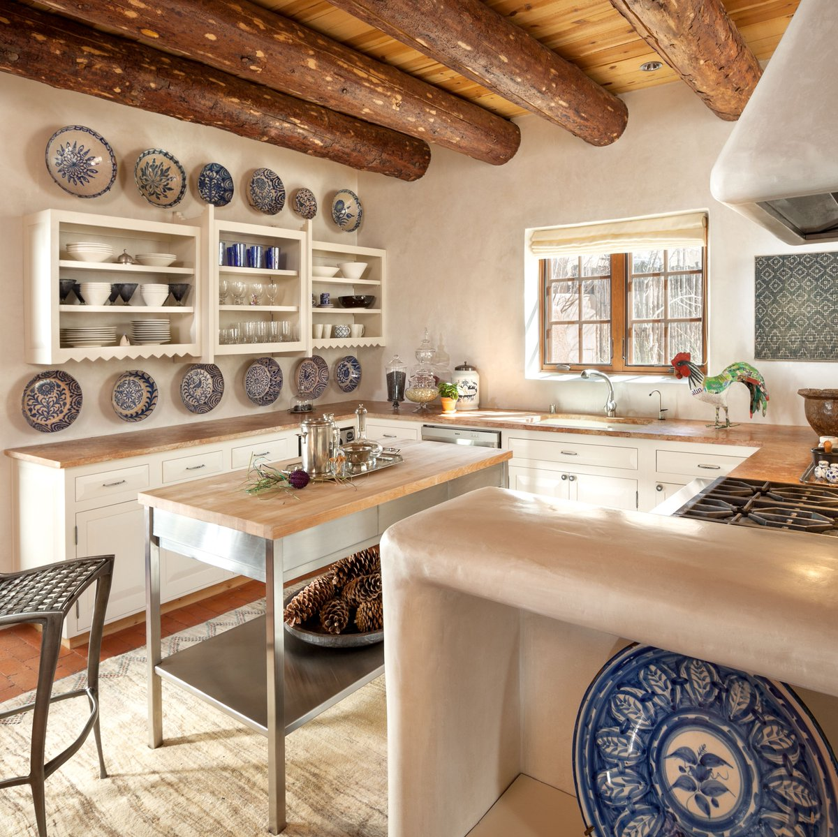 Wood counter tops & wood ceiling match together perfectly in the Santa Fe Historic kitchen.   #kitchen #wood #countertops #interior #design<br>http://pic.twitter.com/lWJlILnEUl